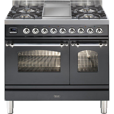 ILVE Milano Dual Fuel Range Cooker 90cm Twin 4 Burner Fry Top Matt Black-Appliance People