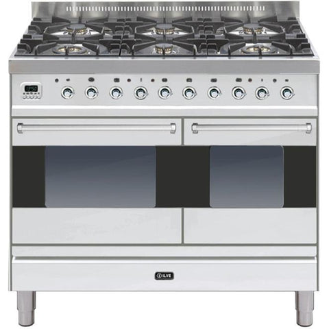 ILVE Moderna Dual Fuel Range Cooker 100cm Twin 6 Burner Stainless Steel-Appliance People