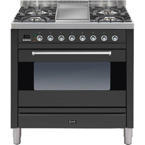 ILVE Moderna Dual Fuel Range Cooker 90cm Single 4 Burner & Fry Top Matt Black-Appliance People