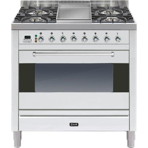 ILVE Moderna Dual Fuel Range Cooker 90cm Single 4 Burner & Fry Top Stainless Steel-Appliance People