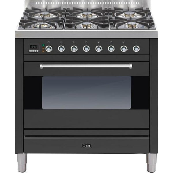 ILVE Moderna Dual Fuel Range Cooker 90cm Single 6 Burner Matt Black-Appliance People