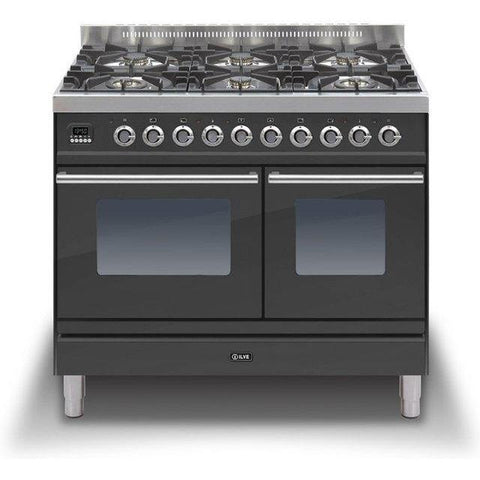 ILVE Roma Dual Fuel Range Cooker 100cm Twin 6 Burner Matt Black-Appliance People