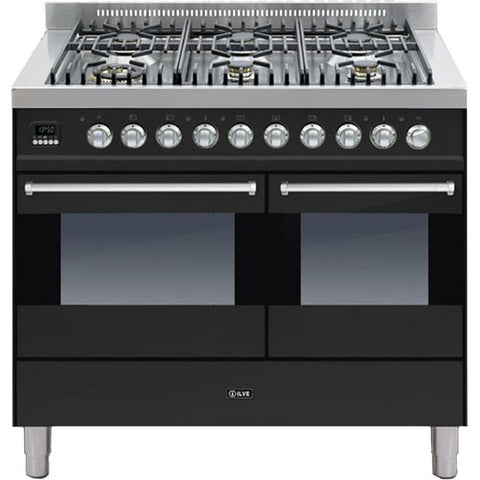 ILVE Ultimo Dual Fuel Range Cooker 100cm Twin 6 Burner Gloss Black-Appliance People