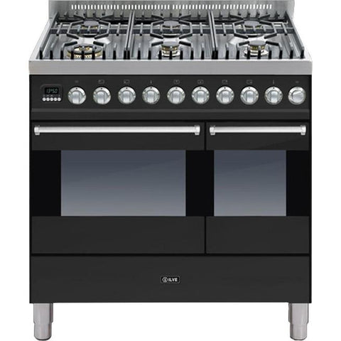 ILVE Ultimo Dual Fuel Range Cooker 90cm Twin 6 Burner Gloss Black-Appliance People