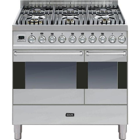 ILVE Ultimo Dual Fuel Range Cooker 90cm Twin 6 Burner Stainless Steel-Appliance People