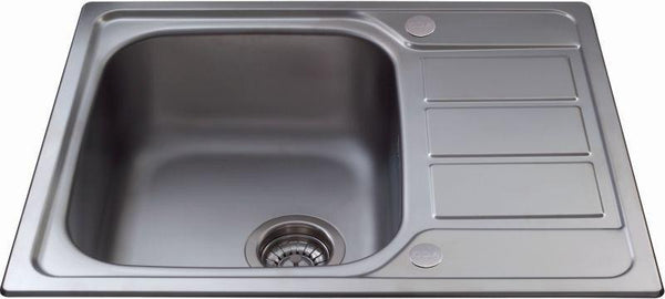 CDA KA55SS Inset single bowl sink with mini drainer Stainless Steel-Appliance People