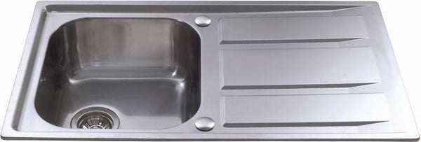CDA KA80SS Inset compact single bowl sink Stainless Steel-Appliance People