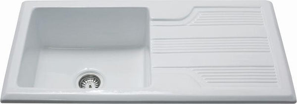 CDA KC23WH Inset ceramic traditional single bowl sink White-Appliance People
