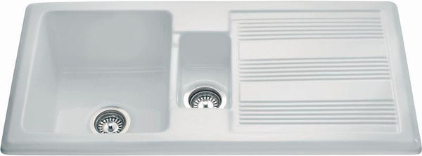 CDA KC24WH Inset ceramic traditional 1.5 bowl sink White-Appliance People