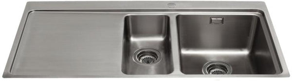 CDA KVF22LSS One and a half bowl flush fit sink with left hand drainer Stainless Steel-Appliance People