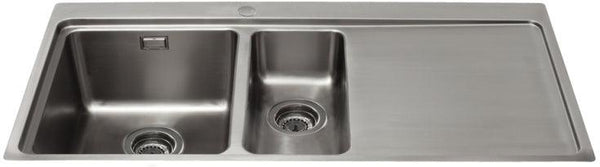 CDA KVF22RSS One and a half bowl flush fit sink with right hand drainer Stainless Steel-Appliance People