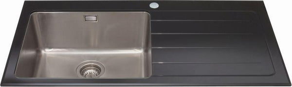 CDA KVL01BL Single bowl glass sink right hand drainer Black-Appliance People