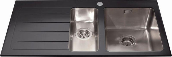 CDA KVL02LBL Inset glass 1.5 bowl sink left hand drainer Black-Appliance People