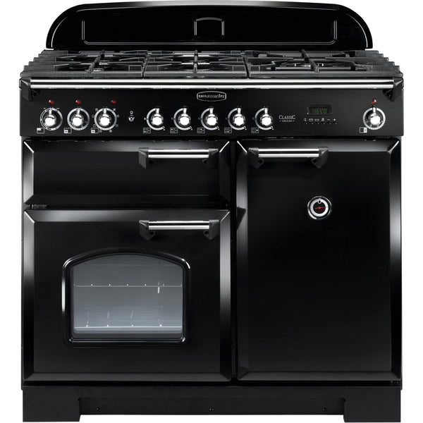 Rangemaster CDL100DFFBL Classic Deluxe 100cm Dual Fuel Range Cooker Black-Appliance People