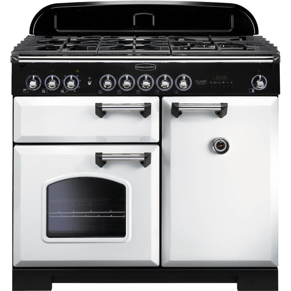 Rangemaster CDL100DFFWH Classic Deluxe 100cm Dual Fuel Range Cooker White-Appliance People