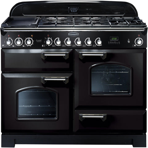 Rangemaster CDL110DFFBL Classic Deluxe 110cm Dual Fuel Range Cooker Black-Appliance People