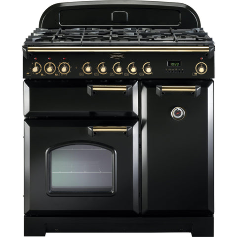 Rangemaster CDL90DFFBL Classic Deluxe 90cm Dual Fuel Range Cooker Black-Appliance People