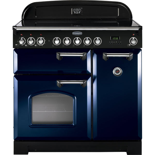 Rangemaster CDL90ECRB Classic Deluxe 90cm Ceramic Range Cooker Blue-Appliance People
