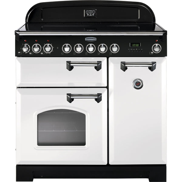 Rangemaster CDL90ECWH Classic Deluxe 90cm Ceramic Range Cooker White-Appliance People