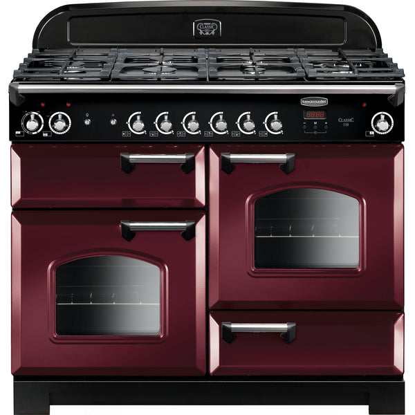 Rangemaster CLA110DFFCY/C Classic 110cm Dual Fuel Range Cooker Cranberry-Appliance People