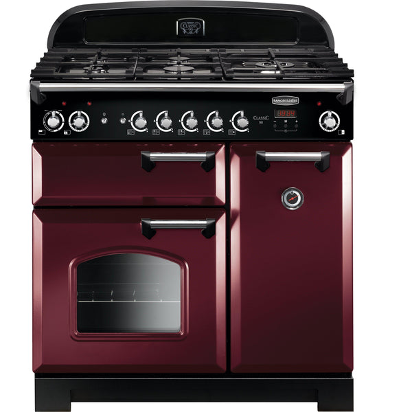 Rangemaster CLA90DFFCY/C Classic 90cm Dual Fuel Range Cooker Cranberry-Appliance People