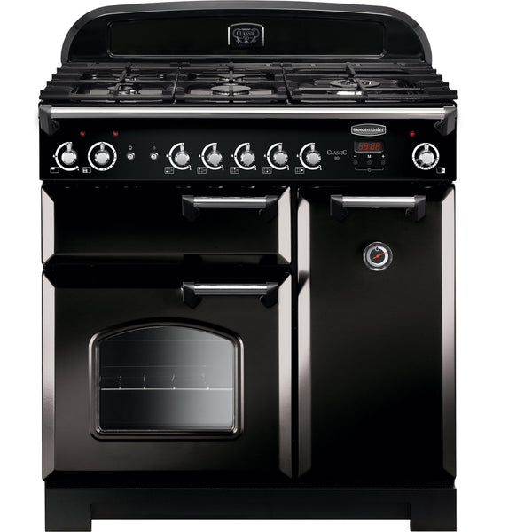 Rangemaster CLA90NGFBL/C Classic 90cm Gas Range Cooker Black-Appliance People