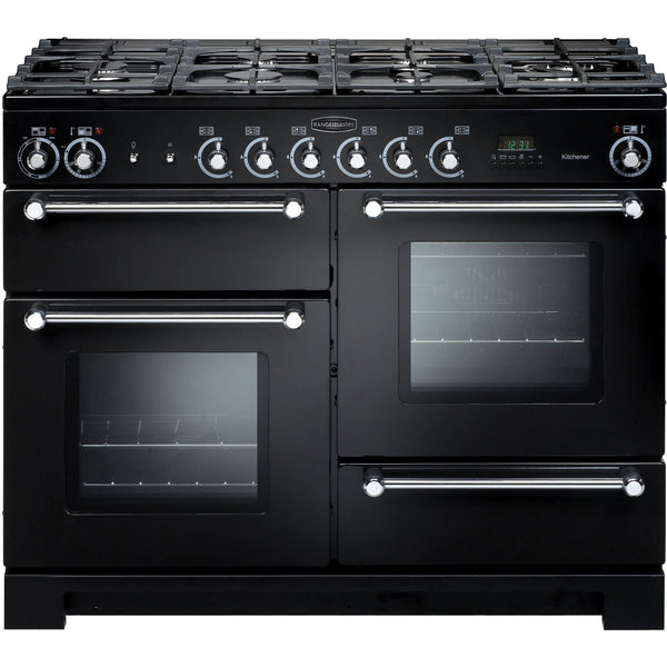 Rangemaster KCH110DFFBL/C Kitchener 110cm Dual Fuel Range Cooker Black-Appliance People