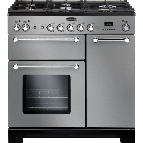 Rangemaster KCH90DFFSS/C Kitchener 90cm Dual Fuel Range Cooker Stainless Steel-Appliance People