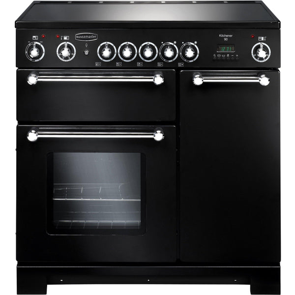 Rangemaster KCH90ECBL/C Kitchener 90cm Ceramic Range Cooker Black-Appliance People