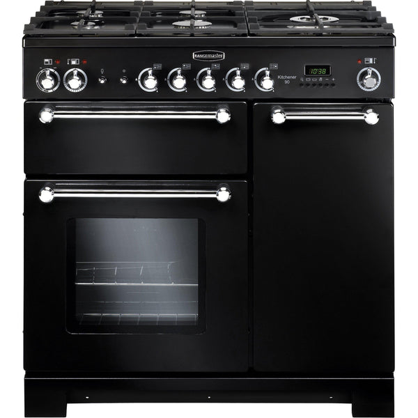 Rangemaster KCH90NGFBL/C Kitchener 90cm Gas Range Cooker Black-Appliance People
