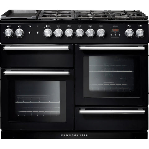 Rangemaster NEX110DFFBL/C Nexus 110cm Dual Fuel Range Cooker Black-Appliance People