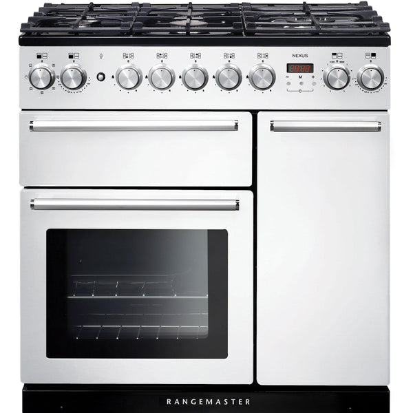 Rangemaster NEX90DFFWH/C Nexus 90cm Dual Fuel Range Cooker White-Appliance People