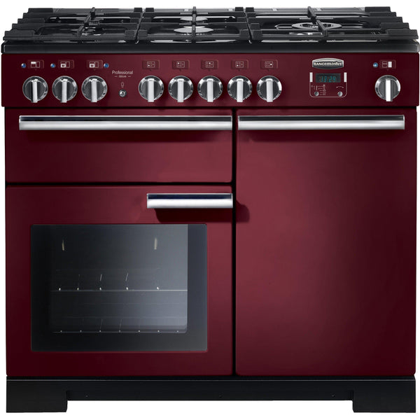 Rangemaster PDL100DFFCY/C Professional Deluxe 100cm Dual Fuel Range Cooker Cranberry-Appliance People