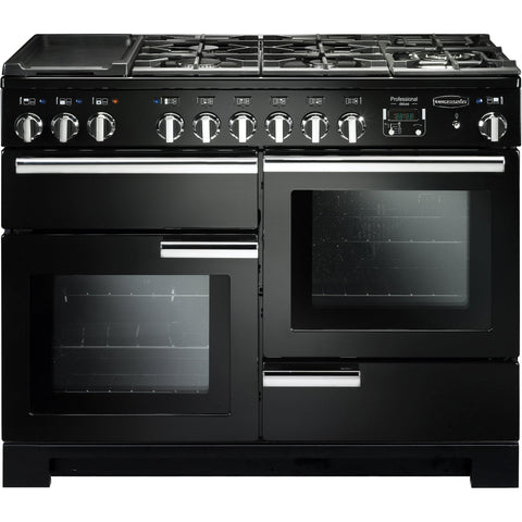 Rangemaster PDL110DFFGB/C Professional Deluxe 110cm Dual Fuel Range Cooker Black 97520-Appliance People