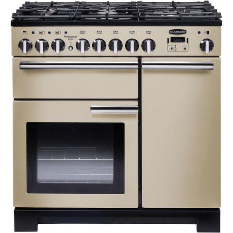 Rangemaster PDL90DFFCR/C Professional Deluxe 90cm Dual Fuel Range Cooker Cream-Appliance People