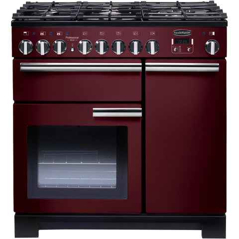 Rangemaster PDL90DFFCY/C Professional Deluxe 90cm Dual Fuel Range Cooker Cranberry-Appliance People