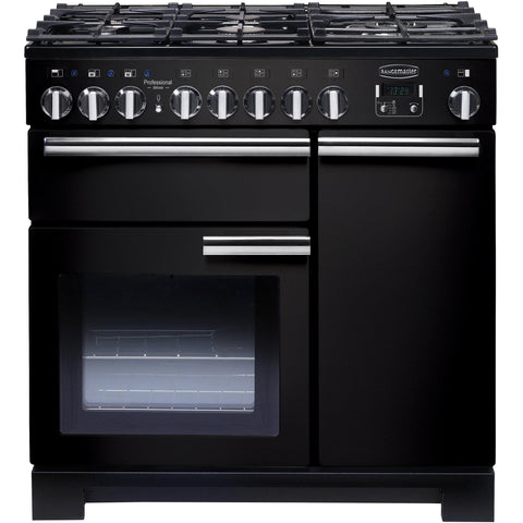 Rangemaster PDL90DFFGB/C Professional Deluxe 90cm Dual Fuel Range Cooker Black-Appliance People