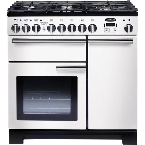 Rangemaster PDL90DFFWH/C Professional Deluxe 90cm Dual Fuel Range Cooker White-Appliance People