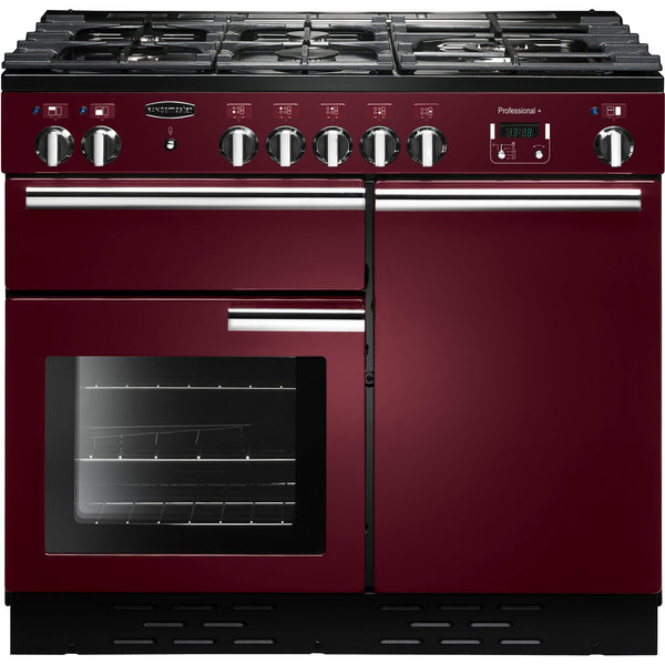 Rangemaster PROP100DFFCY/C PROFESSIONAL PLUS 100cm Dual Fuel Range Cooker Cranberry-Appliance People