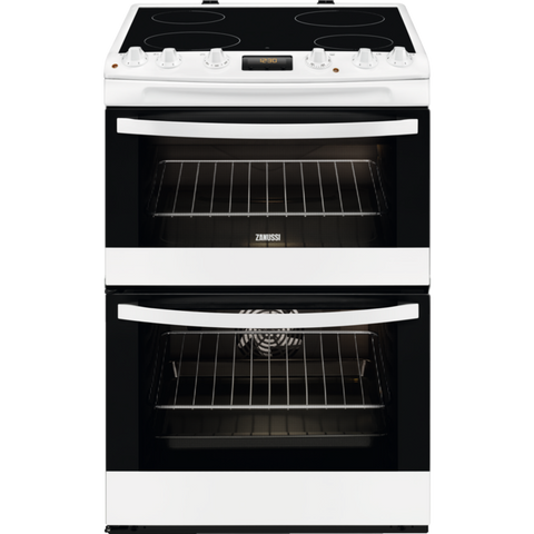 Zanussi ZCV68300WA White 60cm Double Oven Electric Cooker With Ceramic Hob