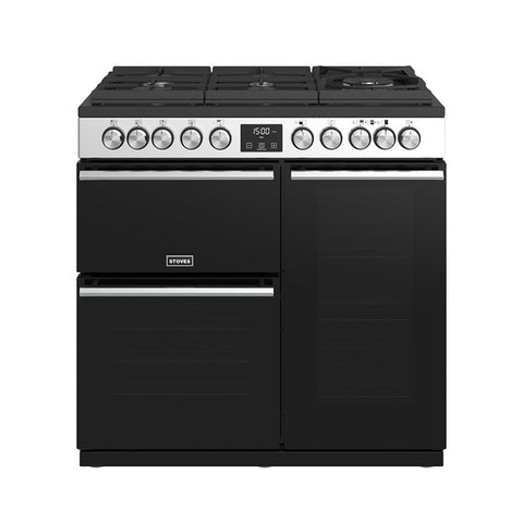 Stoves PREC DX S900DFGTGSS Precision Deluxe 90cm Gas On Glass Dual Fuel Range Cooker 10750 – STAINLESS STEEL* * ONLY 1 AT THIS PRICE * *