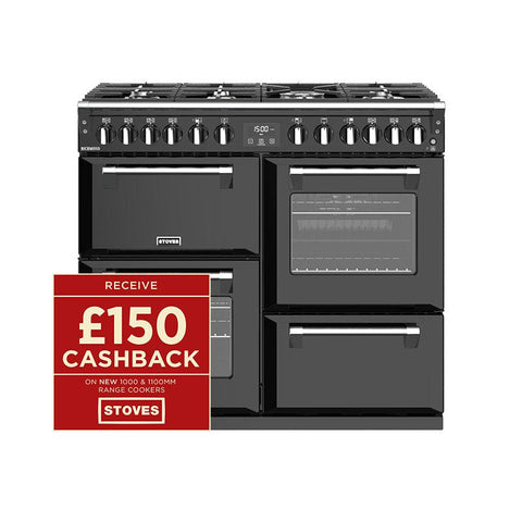 Stoves RICHMOND S1000DF 100CM DUAL FUEL IN BLACK-Appliance People