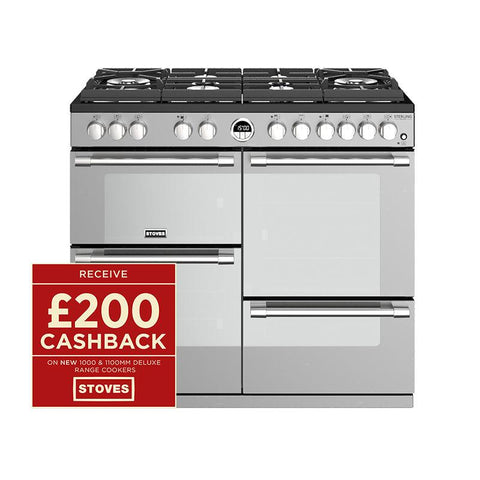 Stoves STERLING DELUXE S1000DF GTG 100CM GAS ON GLASS DUAL FUEL IN STEEL-Appliance People
