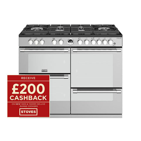 Stoves STERLING DELUXE S1100DF GTG 110CM GAS ON GLASS DUAL FUEL IN STEEL-Appliance People