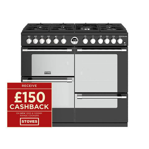 Stoves STERLING S1000DF 100CM DUAL FUEL IN BLACK-Appliance People
