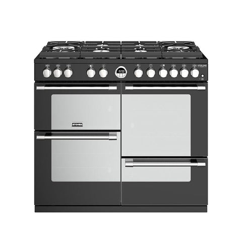 Stoves STERLING DELUXE S1000DF GTG 100CM GAS ON GLASS DUAL FUEL IN BLACK-Appliance People