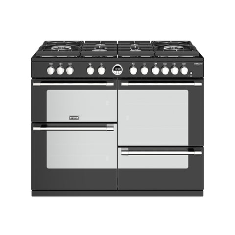 Stoves STERLING DELUXE S1100DF GTG 110 CM GAS ON GLASS DUAL FUEL IN BLACK-Appliance People