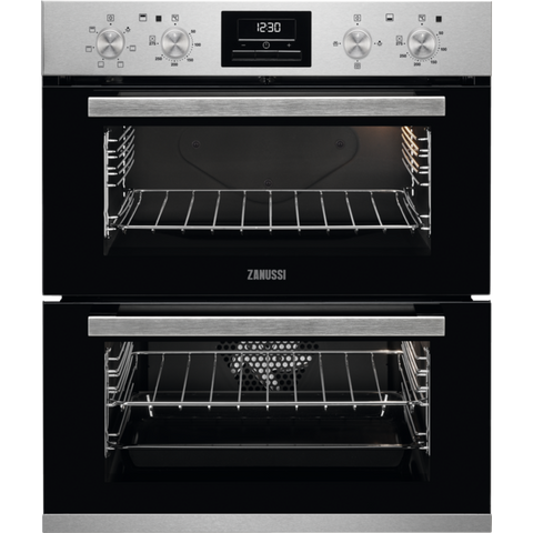 Zanussi ZOF35601XK 60cm Built-Under Double Electric Oven stainless steel-Appliance People
