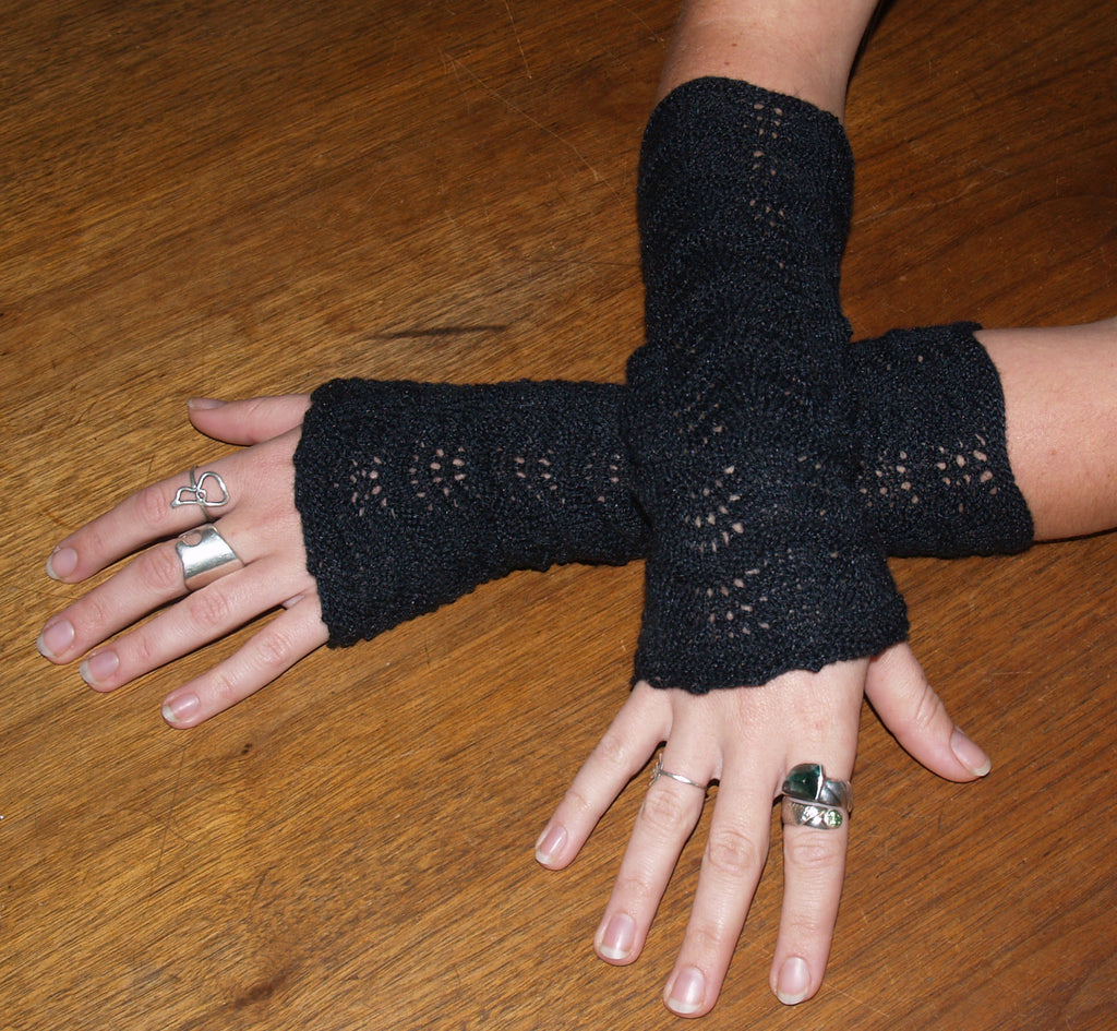 Lace Weight Black Fingerless Gloves