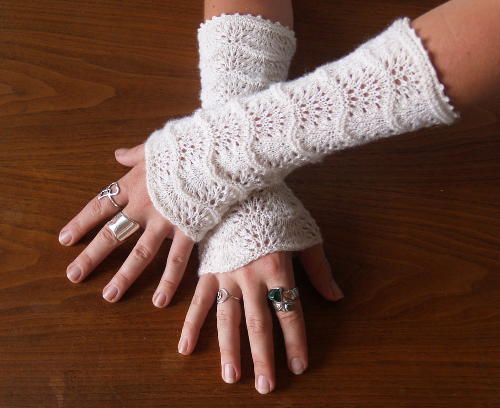 Lace weight fingerless gloves